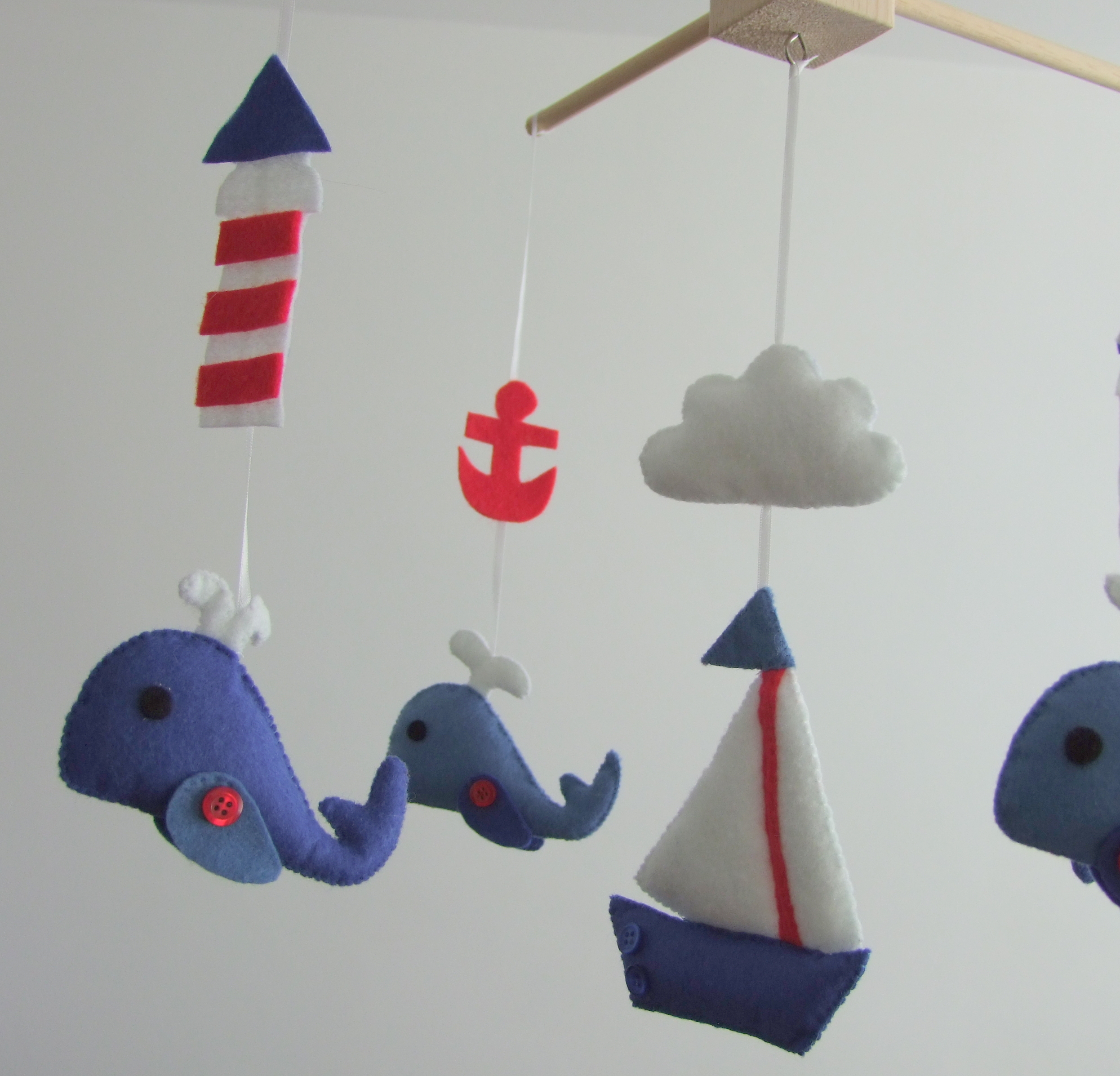 Crib mobiles for babies - Baby Crib Mobile Navy Red Boats Whale Anchor Fish Nautical Design Baby Mobile Felt Nursery Mobile Sailboats Baby Cot Mobile
